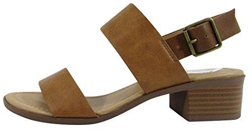 City Classified Footwear Women's Open Toe Ankle Strappy Colorblock Chunky Stacked Block Heel Sandal (6.5 B(M) US, Tan/Tan)