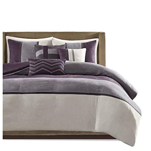 Madison Park Palisades 6 Piece Faux Suede Duvet Set, Full/Queen, Purple