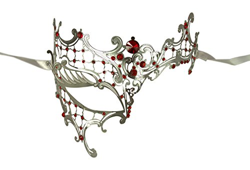 Paloqueth Phantom of the Opera Venetian Laser Cut Masquerade Mask (Style 2) (Silver) -