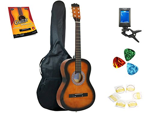 Star Acoustic Guitar 38 Inch with Bag, Tuner, Strings, Picks and Beginner's Guide, Sunburst by Star