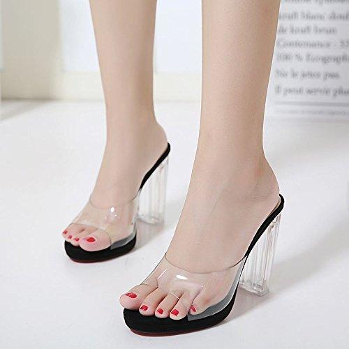 Atmospheric Sandalias para con grueso waterproof black y cm single ultra new Suhang alta con plástico terraza transparente zapatillas de sandalias mujer 2 ZWdOnzd