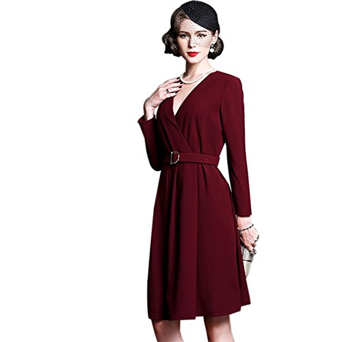 with Belt Dresses cotyledon Neck v Formal Women`s Dress Maxi TwUB0