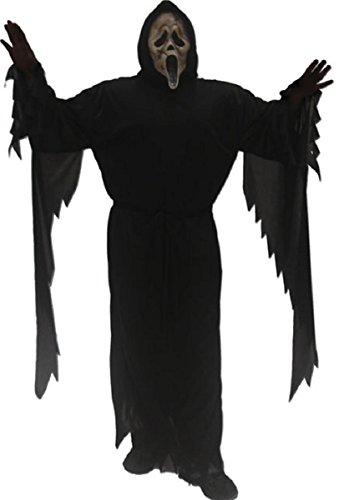 Ghost Face Killer Costume (Zombie Ghost Face Scream Black Horror Mask Reaper Costume Robe Killer Teen Mens)