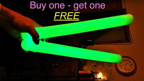 World's Biggest Glow Stick! Extra large 16 inches! It's BIG! NOW IN 6 INCREDIBLE COLORS! Green, red, blue, orange, and yellow!PLUS Buy one, get a second one FREE! No Limit!