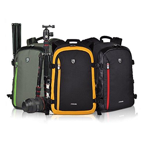 LEDMOMO Borsa zaino fotocamera, zaino fotocamera Nylon Dslr impermeabile Zaino viaggio viaggio per fotocamere, laptop, treppiedi e accessori DSLR (verde dell'esercito)