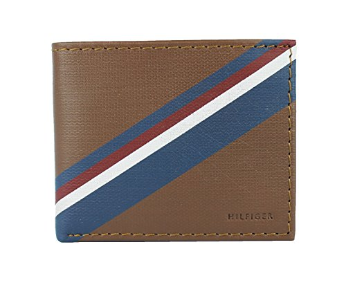 New Tommy Hilfiger Men's Leather Double Billfold Passcase Wallet & Valet (Honey -