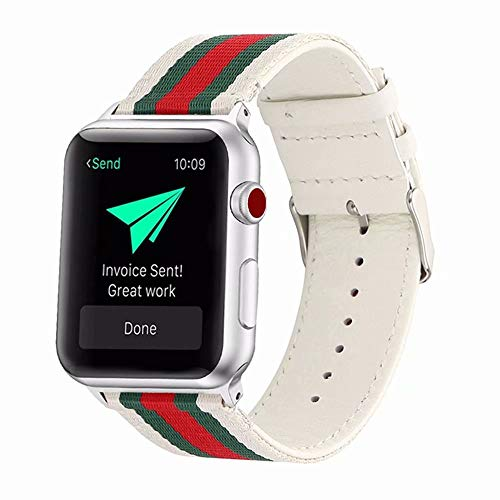 Stripe Woven Nylon Leather Band Strap Stylish Replacement Wristband Bracelet Compatible with 44mm 42mm Apple Watch Series 4/3/2/1 (White Green - Series Watch Gucci
