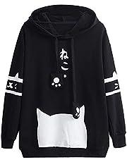 Xmiral Hoodie pullover dames herfst mode Kitty Cat Print Hooded Sweatshirt Pullover
