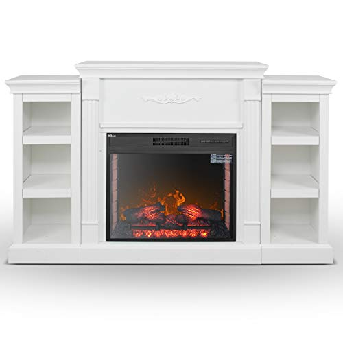 DELLA 28 in. Electric Fireplace with Enhanced Log Display and White Mantel, CSA Certification