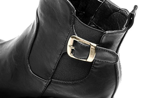 Ankle Pu Platform Black Womens Buckle Heels Laras Chelsea Boots Zipper Block Shoes OqF7E
