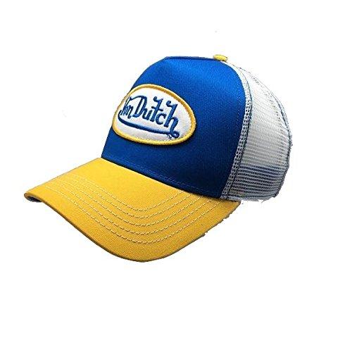 Von Dutch Original Men Trucker Hat Logo Design Blue Yellow