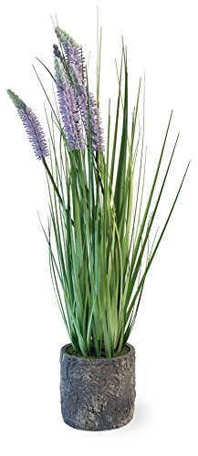 Boston International Decorative Grass in Cement Container Pot, Lavender