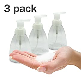 Foaming Soap Dispenser Set of 3 pack 300ml (10 oz) Empty Bottles Hand Soap Liquid Containers. Save Money! Less soap is used per hand washing session Perfect for Castile Liquid Soap 85 Saving Money, Cost Effective. Foaming soap dispensers release less soap than regular liquid soap dispensers do, allowing users to achieve the same level of cleanliness with less soap. Less soap per hand wash makes the same amount last longer, which costs less. Environmentally friendly. Because it is a diluted form of liquid hand soap, less soap is used per hand washing session. It is also thinner and less likely to clog drains, which people often use harsh chemicals and detergents to resolve. Eliminates drips, stains and clogs. Foaming hand soap can be used to lather without wetting the hands and water need only be used to rinse the soap away, which can reduce water usage during hand washing by up to 45 percent.