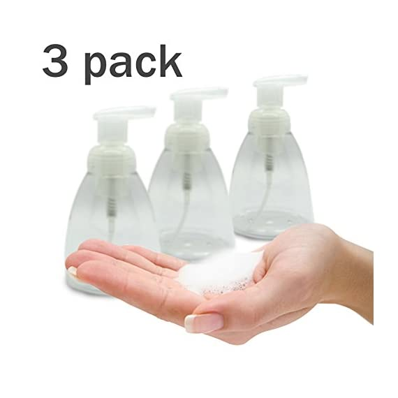 Foaming Soap Dispenser Set of 3 pack 300ml (10 oz) Empty Bottles Hand Soap Liquid Containers. Save Money! Less soap is used per hand washing session Perfect for Castile Liquid Soap 1 Saving Money, Cost Effective. Foaming soap dispensers release less soap than regular liquid soap dispensers do, allowing users to achieve the same level of cleanliness with less soap. Less soap per hand wash makes the same amount last longer, which costs less. Environmentally friendly. Because it is a diluted form of liquid hand soap, less soap is used per hand washing session. It is also thinner and less likely to clog drains, which people often use harsh chemicals and detergents to resolve. Eliminates drips, stains and clogs. Foaming hand soap can be used to lather without wetting the hands and water need only be used to rinse the soap away, which can reduce water usage during hand washing by up to 45 percent.