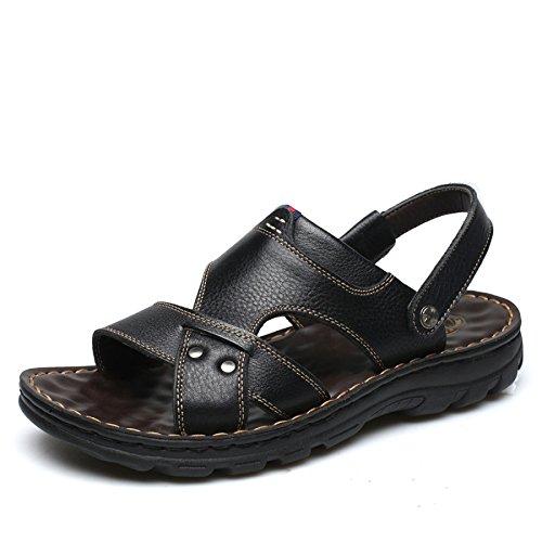 Padre De Zapatos 2018 Sandalias Tamaño De Playa Hombres Zapatos De Verano Cuero Gran Marrón Amarillo De D De WKNBEU Casual Los Los Hombres Zapatillas Negro Nuevo De OHanWPf