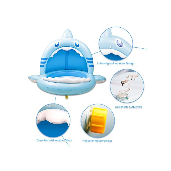 41PylW2YypL 【Alta calidad】: esta piscina hinchable infantil está hecha de PVC de alta calidad, impermeable y hermética. Es divertido para los bebés y fácil de inflar, lo que mantiene a los niños frescos y seguros. 【Techo de protección solar】: el techo de protección solar protege a los bebés de la luz solar directa. Esta piscina infantil ofrece a su bebé un lugar fresco y fresco en el caluroso verano. 【Adorable diseño con forma de tiburón】: esta piscina infantil para niños tiene la forma de un tiburón, es muy linda y adecuada para bebés y niños. Y tu bebé se enamorará de este piscina hinchable.
