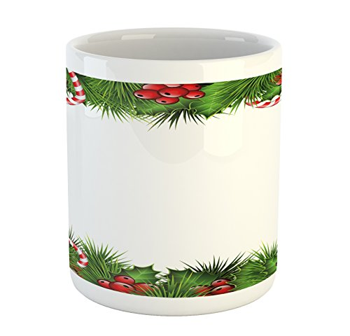 Ambesonne Christmas Mug, Holly Sprigs with Coniferous Tree B
