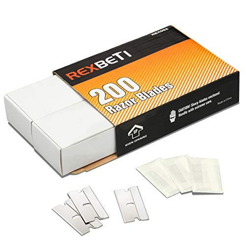 REXBETI 200PCS Single Edge Razor Blades, Industrial Razor Blades for Scraper, Suitable for Removing Labels, Decals, Stickers and Old Paint