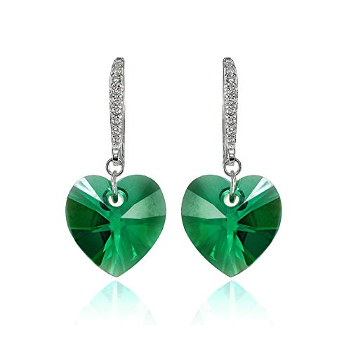 (Sterling Silver Green Heart Dangle Earrings Created with Swarovski Crystals)