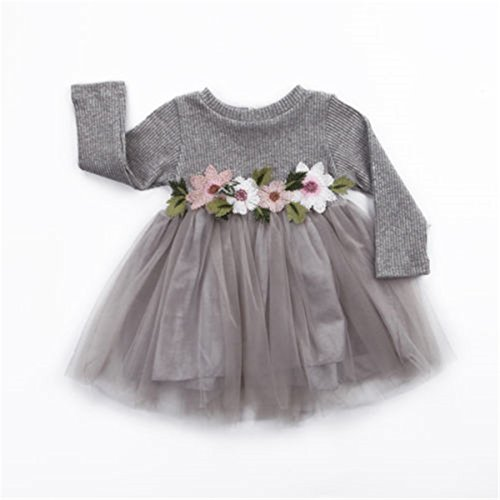 Toddler Kids Girls Fall Jersey Dress Long Sleeve Floral Tulle Cap Tutu Dresses Outfit (3-9months, Grey)