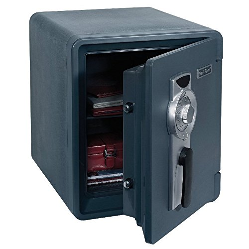 Best Home Security Bolt To Floor Safe Vault Waterproof 1-Hour Fire Resistant- Store Valuables Documents CD Jewelry, Precious Metals- Home Defense Burglary Protection- 4 Locking Bolts Pry-Proof Hinges