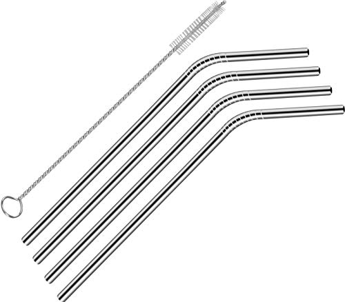 Utopia Kitchen Single Piece Stainless Steel Bent Straw 8.5-Inches Long with Brush - Pack of 4
