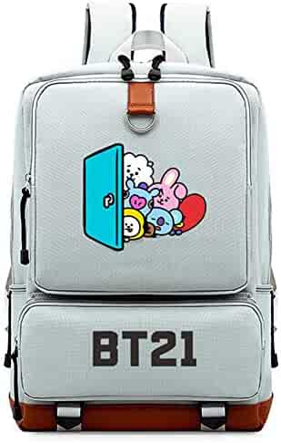 YOURNELO Unisex Personality BTS Pattern Printing Rucksack School Backpack  Bookbag For Boys Girls (n) 60b7d444a2