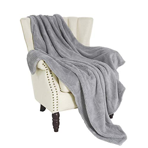 "Exclusivo Mezcla Waffle Flannel Velvet Plush Throw Blanket – 50"" x 60"" (Grey) from Exclusivo Mezcla"