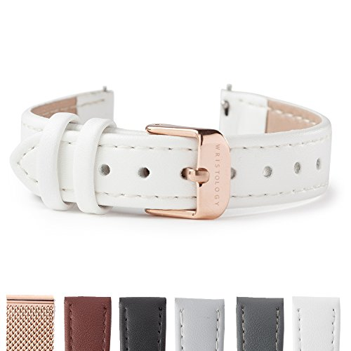 WRISTOLOGY Rose Gold 14mm Womens Easy Interchangeable Stitched Leather Watch Band (White)