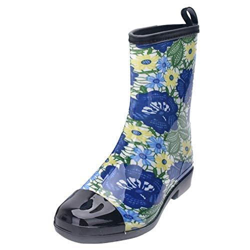 HULKAY Ladies Premium Boutique Women's Short Rain Boots Waterproof Slip On Ankle Chelsea Booties for Women(Blue,US:7/CN:40)