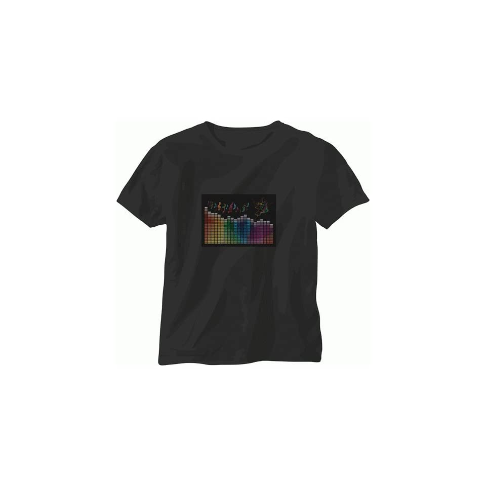 EL Panel Sound Activated, Light Animated Party T Shirt   284 (Small)