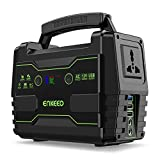 ENKEEO Portable Power Generator 155Wh Power Station with AC/DC/QC3.0 USB ports, LED Flashlight, Supports Solar Panels, Lithium-ion Batteries Electric Supply for Camping Travel Home Emergency, Black