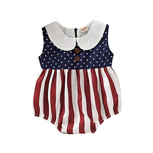 Infant Baby Boys&Girls Romper Jumpsuit Independence Day Bodysuit Stars Striped US Flag Patriotic Outfits Red -
