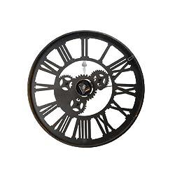Adeco Antique-Look Distressed Bronze Iron Wall Hanging Clock, Roman Numerals, Gear Detail Home Decor, Black, Roman