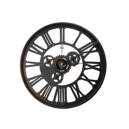 Adeco CK0028 Antique-Look Distressed Bronze Iron Wall Hanging Clock, Roman Numerals, Gear Detail Home Decor, Black, Roman, Black