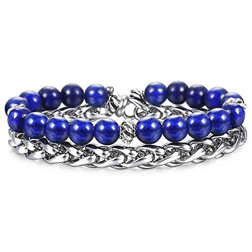 Trendsmax Energy Healing Crystal Yoga Natural Stone Lapis Lazuli Bracelets Stainless Steel Beads Double for Men Boys Wheat Link 8 Inch