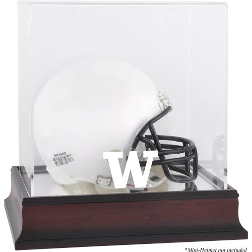 - Sports Memorabilia Washington Huskies Mahogany Logo Mini Helmet Display Case with Mirror Back - College Mini Helmet Free Standing Display Cases