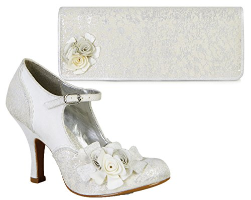 Ruby Shoo Silver Emily Mary Jane Pumps & London Bag 7 UK 40 by Ruby Shoo