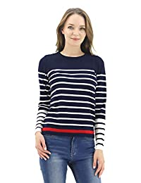 BENANCY Women s Crewneck Striped Long Sleeve Soft Pullover Knit Sweater Tops b1610555a