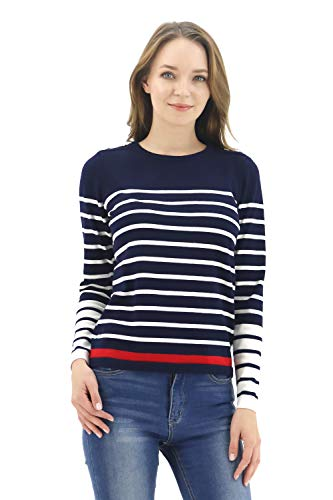 BENANCY Women's Crewneck Striped Long Sleeve Soft Pullover Knit Sweater Tops N Navy -