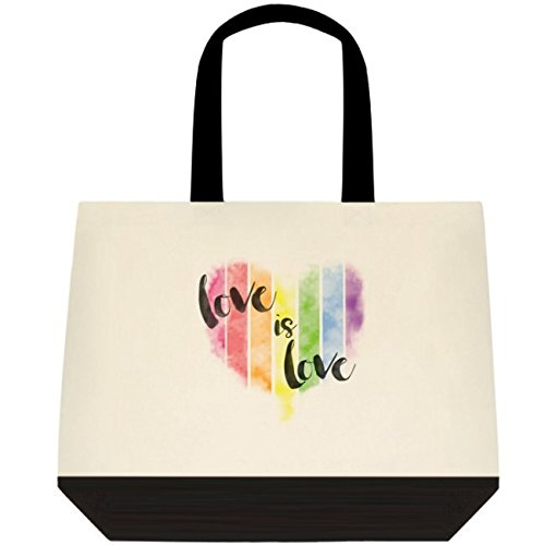 Heartfelt Hospitality ''Love is Love'' LGBT Pride Rainbow Tote for Gifts, Wedding, Grocery
