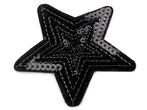 Aufbügler, Aufnäher Stern Pailetten Ø70mm #09 schwarz