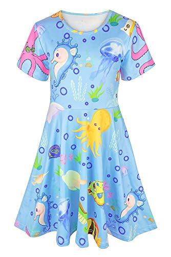 Asylvain Toddler Girl's Navy Blue Dress with 3D Ocean Animal Design Casual Dress for Little Girl Kids, 4-5 Years ()