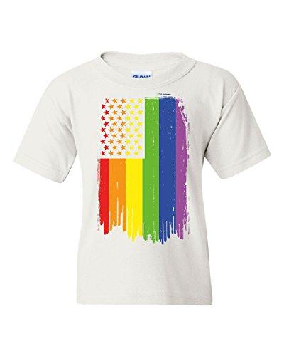 Distressed Gay Pride Rainbow Flag Youth T-Shirt LGBTQ Love Wins White XL - White Gay Marriage T-shirt