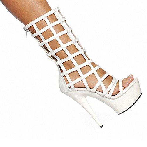 Plataforma Con Cremallera Jaula Sexy Para Mujer Plataforma Con Cremallera Zapatos De Tacón Alto Sandalias Gladiador Envueltos Blanco