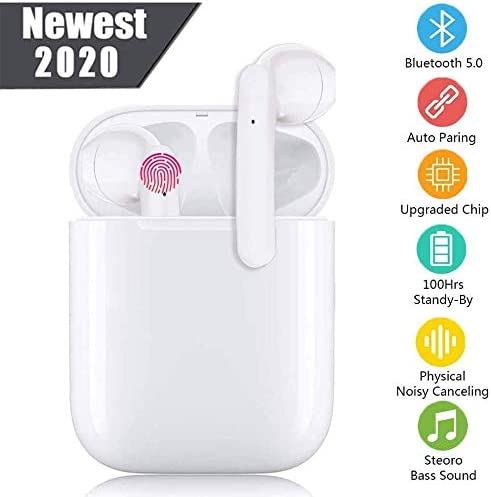 Wireless Earbuds Bluetooth 5.0 Headphones with 24Hrs Fast Charging Case 3D Stereo Headphones in-Ear Headset Built-in Mic, Pop-ups Auto Pairing Headphones for Android iPhone White