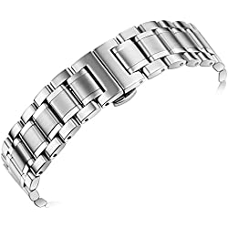 20mm Luxury Metal Watch Straps Solid Stainless Steel Heavy Type with Both Curved and Straight Ends Oyster Style