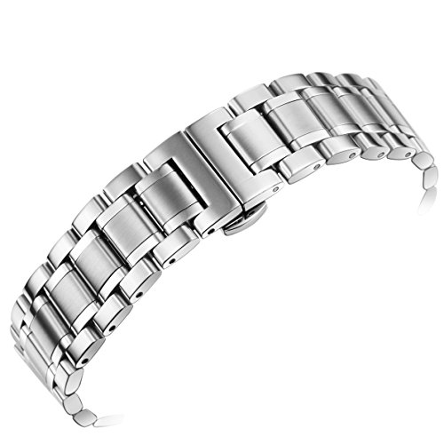 Wrist Tone Two Watch Solid (24mm Men's Deluxe Wide Solid Stainless Steel Watch Bracelets Wristbands with Both Curved and Straight Ends)