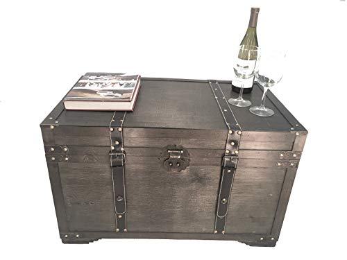 Styled Shopping Gold Rush Steamer Trunk Wood Storage Wooden Treasure Chest - Large Trunk Black