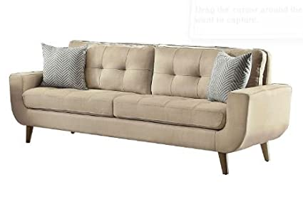 Ku0026A Company Modern Beige Fabric Style Mid Century Tufted Chair Loveseat  Tuxedo Leather Impressive Style Sofa